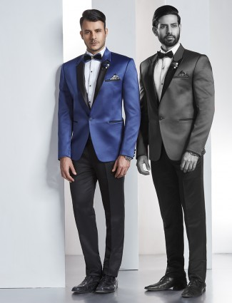 Royal blue color solid tuxedo coat suit