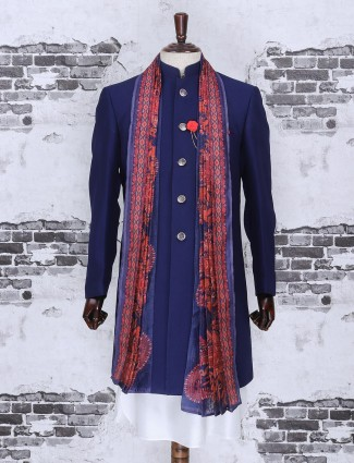 Royal blue color terry rayon indo western