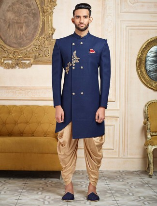 Royal blue color terry rayon mens indo western