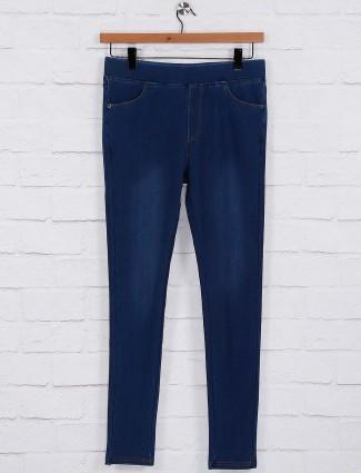 Royal blue cotton fabric jeggings