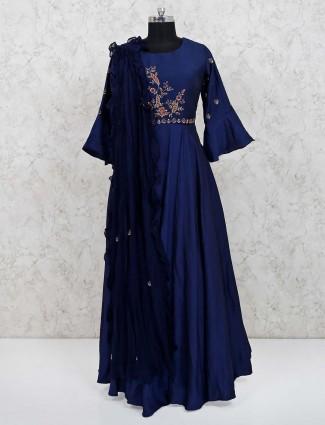 Royal blue cotton party anarkali salwar suit