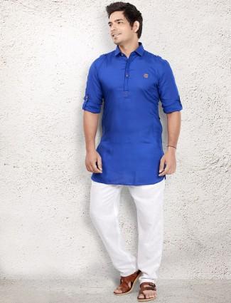 Royal blue cotton pathani suit