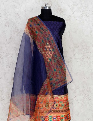 Royal blue cotton salwarsuit material