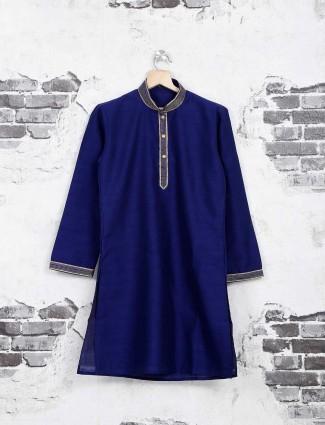 Royal blue cotton silk kurta suit for boys