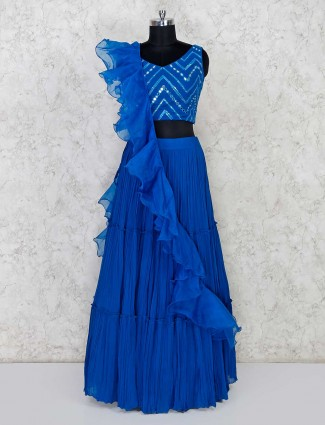 Royal blue designer lehenga choli in georgette