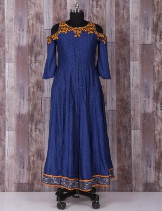 Royal blue designer silk anarkali suit