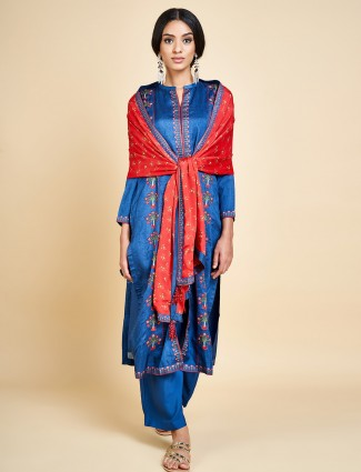 Royal blue embroidered punjabi palazzo salwar suit in cotton