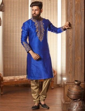 Royal blue festive raw silk suit