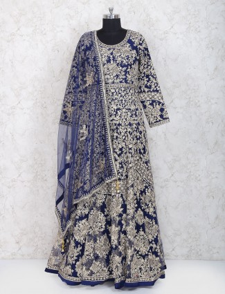 Royal blue floor length anarkali suit in net