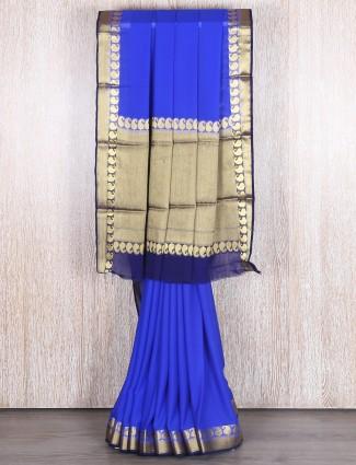 Royal blue georgette festive saree