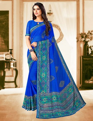 Royal blue georgette saree with print