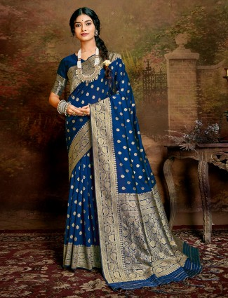 Royal Blue handloom banarasi silk saree for festive