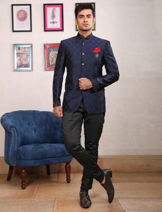 Royal blue hue terry rayon fabric jodhpuri suit