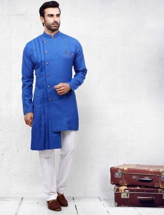 Royal blue hued solid festive wear kurta suit