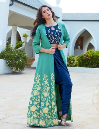 Royal blue jacket style dhoti suit in raw silk