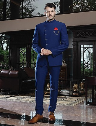 Royal blue jodhpuri suit in solid terry rayon