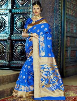 Royal blue kanchana silk saree