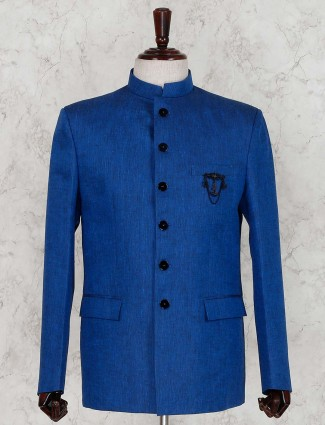Royal blue linen solid party jodhpuri suit