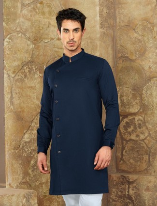 Royal blue man cotton short pathani