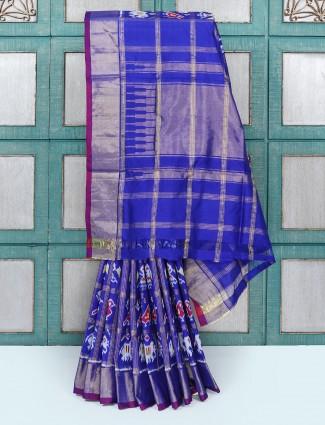 Royal blue patola designed silk saree