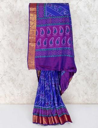 Royal blue patola printed cotton silk saree