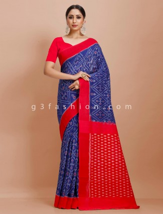 Royal blue patola printed pure mul cotton festive wear saree