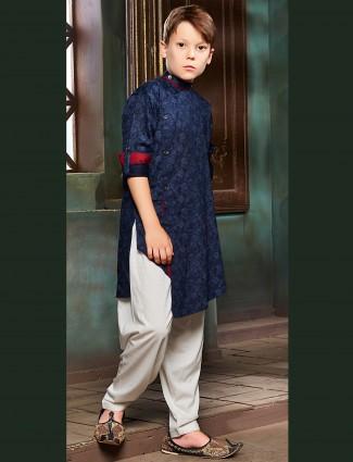 Royal blue printed pathani suit