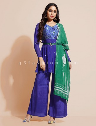 Royal blue printed punjabi palazzo suit
