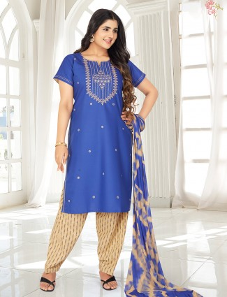 Royal blue punjabi salwar suit for festive look