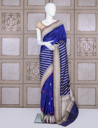 Royal blue pure banarasi silk bridal saree