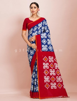 Royal blue pure mul cotton festive wear printed sari