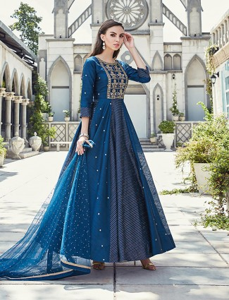 Royal blue raw silk anarkali suit