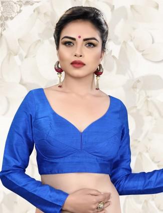 Royal blue raw silk fabric ready made blouse