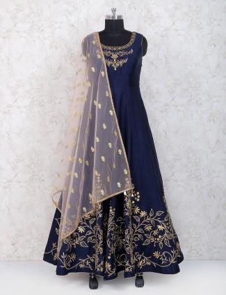 Royal blue raw silk floor length anarkali salwar suit