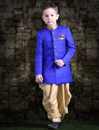 Royal blue raw silk indo westen