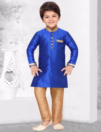 Royal blue raw silk kurta suit