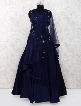 Royal blue raw silk party gown