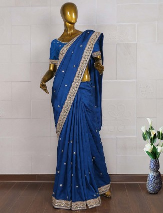 Royal blue raw silk saree