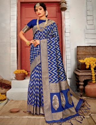 Royal blue saree for wedding in handloom banarasi silk