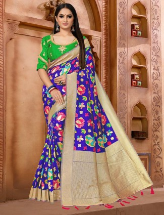 Royal blue semi banarasi silk saree for reception