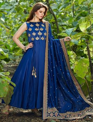 Royal blue silk anarkali suit for festive fuction