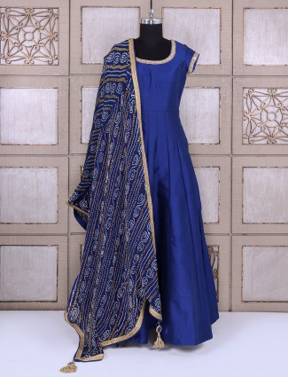 Royal blue silk fabric anarkali suit for festive function