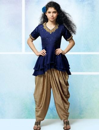 Royal blue silk fabric punjabi dhoti suit