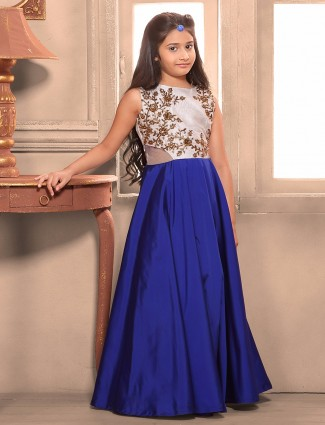 Royal blue silk gown