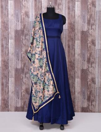 Royal blue silk plain anarkali suit