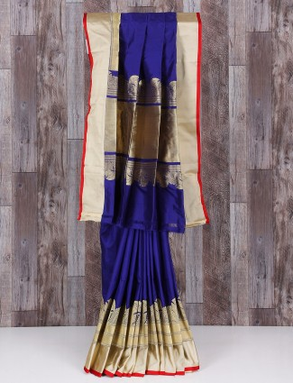 Royal blue silk pretty saree