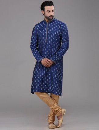 Royal blue silk printed kurta suit festive wear