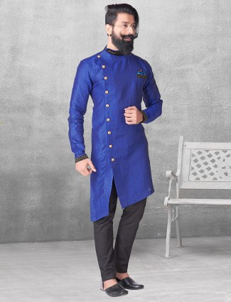 Royal blue silk simple kurta suit