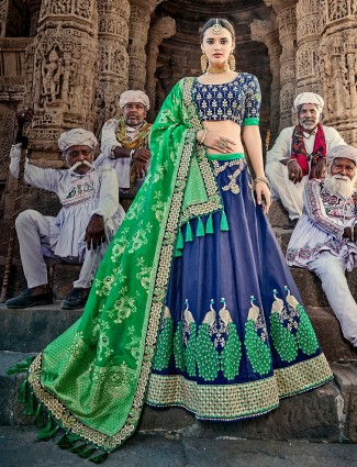 Royal blue silk unstitched lehenga choli