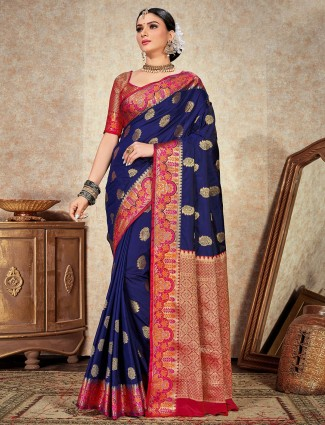 Royal Blue soft silk saree for wedding